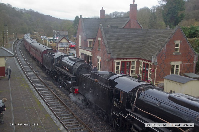 170226-077   USATC S160 2-8-0's  No's 5197 & 6046, ready to depart with the 15:15 Kingsley & Froghall - Ipstones loop.