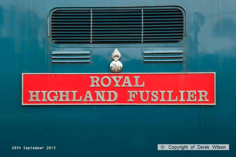 130928-002     Nameplate of Deltic, class 55 no 55019 Royal Highland Fusileer, seen at Barrow Hill.