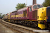 130928-009     A pair of class 37's in faded EWS livery, no's 37503 & 37521 at Barrow Hill.
