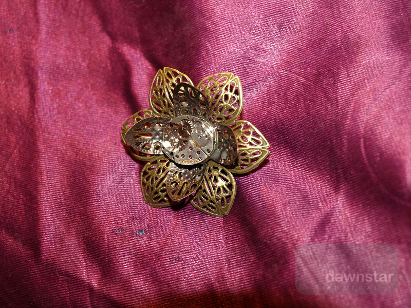 Steampunk flower pin - made by tinyminds on Etsy.com