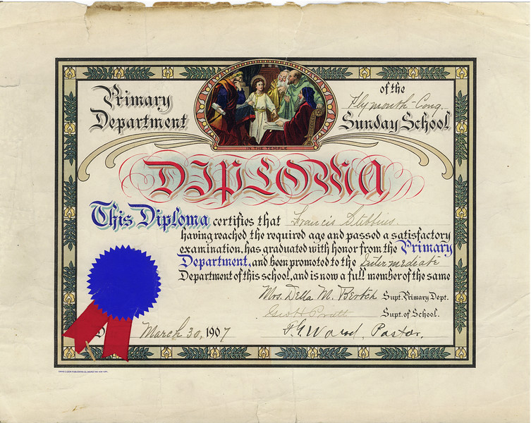Francis Burgoyne Stebbins Plymouth Church Sunday School Diploma March 30 1907