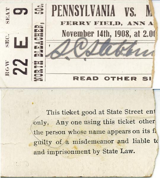 Stowell C Stebbins Ticket Stub from Penn vs Michigan game Nov 14 1908