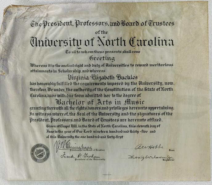 Virginia Buckles University of North Carolina Diploma