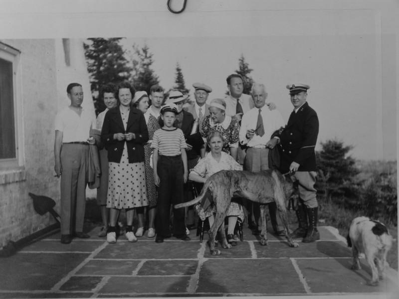 DSCN2394 Front Row Cortland-Annette-Robert-Anna B-Francis-Back Row Jean Davis Madeleine-Charles-Mrs Dwight Winsor-Arthur-Marie-Stowell-Dwight Winsor July 7 1938 Old Lighthouse PresqueIsle Mich