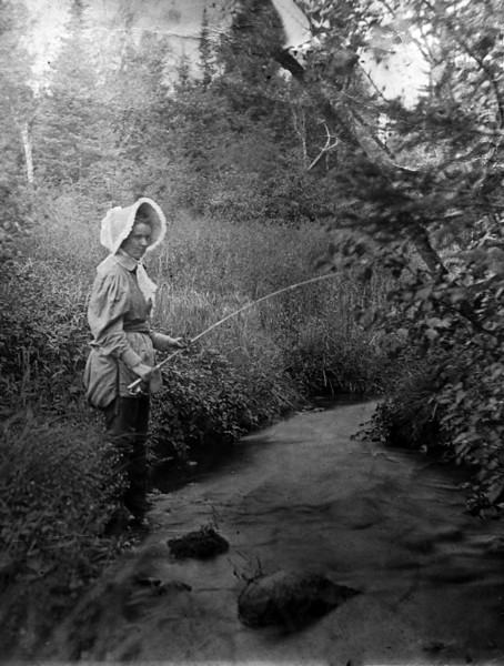 DSCN2514 Anna Burgoyne Stebbins on AuSable River 1898 fishing with the Woodburys