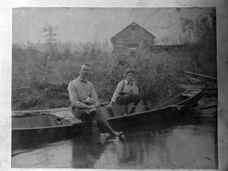 DSCN2519 Arthur Stebbins & Charles Woodbury on AuSable River about 1898