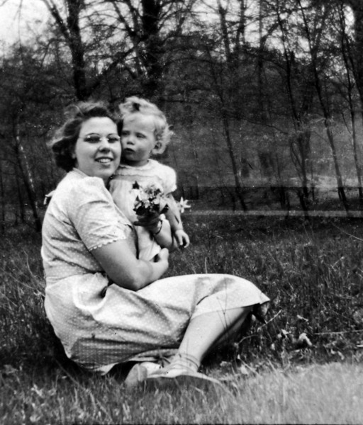 Mable & Jackie Burgoyne Freeland Mich April 1942 cropped