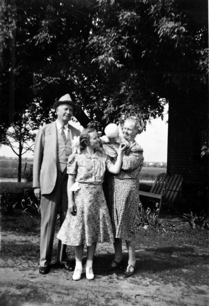 Uncle Arhtur & Aunt Anna B Stebbins Michael (9 months) & Mother (Burgoyne) 6 June 1940