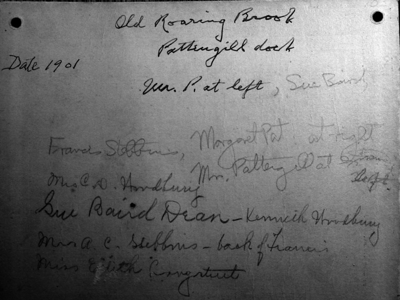 Old Pattengill Dock Mr&Mrs HR&Margaret Pattengill&Anna B&Francis Stebbins&others Roaring Brook 1901-back