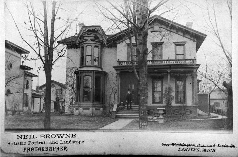 DSCN3496 Residence of Cortland Bliss Stebbins I - 227 N Capitol Ave Lansing Mi  from 1865 to 1901 and of Susan Stebbins Stark to 1937 photo taken 1888 on porch is Cortland B (I) & Stowell C Stebbin