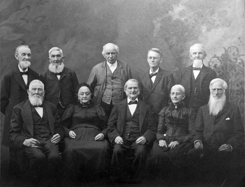 Reunion of old settlers of Adrian Michigan about 1890 top far left is Cortland Bliss Stebbins<br /> <br /> Please, who are the rest of these Stebbins??