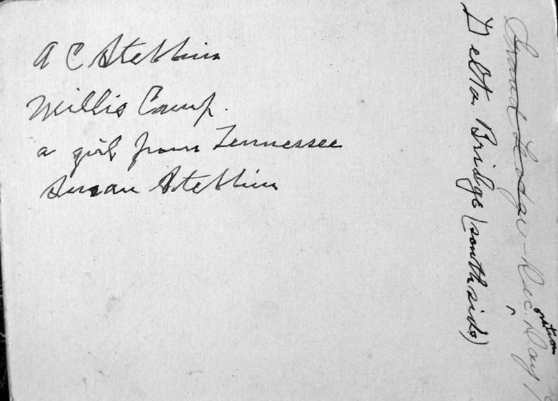 AC & Susan Stebbins Milie Camp a girl from Tenn Delta Bridge (south side) Grand Ledge Dec Day 1892 flip side