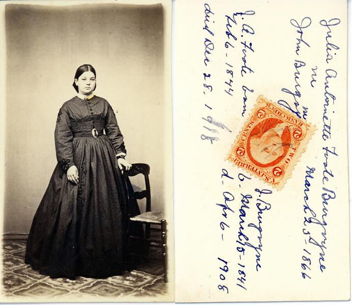 Mrs John Burgoyne - Julia Antoinette Foote Burgoyne March 25 1866 Born & Died dates