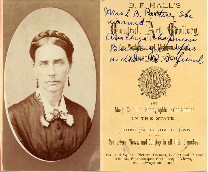 Mrs L B Potter married Aria elija Chapman Burgoyne