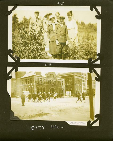 bl Arthur & Anna B & George Stebbins where & City Hall with soilders