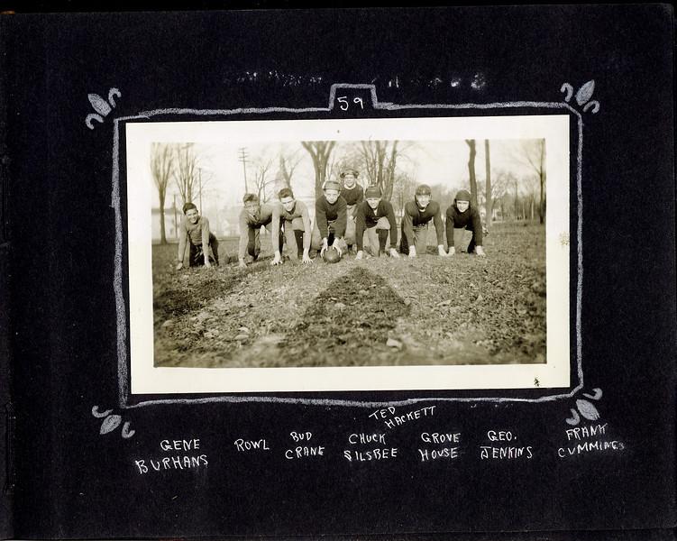 bg Football stance Gene Burhans & Rowland Stebbins & Bud Crane & Chuck Silsbee & Ted Hackett & grove House & George Jinkins & Franny Cummins maybe Lansing Capital lawn