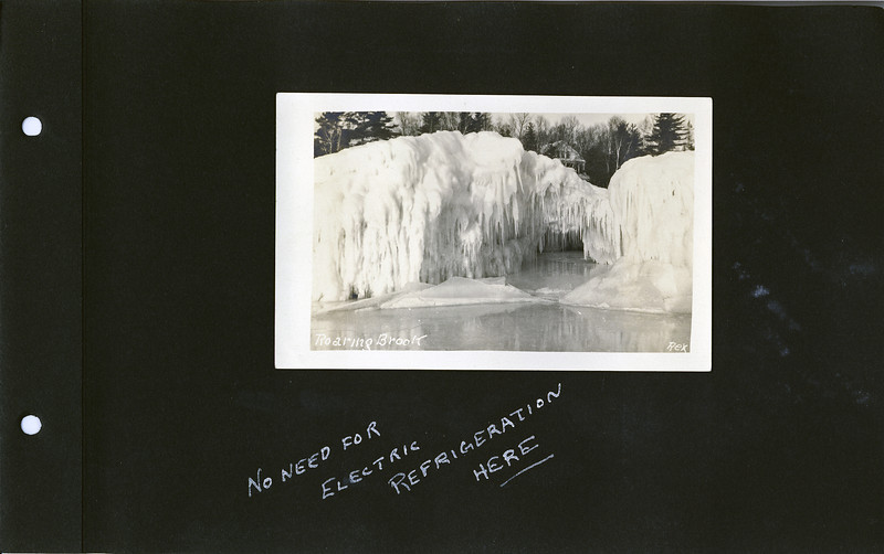 ae Roaring Brook cottage in wiinter with Ice pack