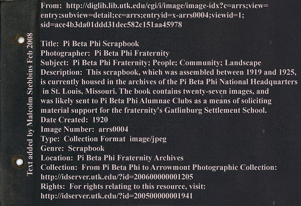 Stowell Stebbins Album  Pi Beta Phi shool at Gatlinburg