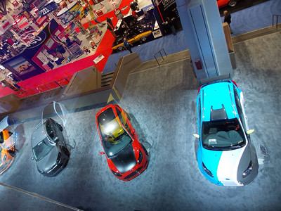 view from the Ford flying gallery, looking down on the Steeda Focus and the GAS Focus, which also featured Steeda upgrades