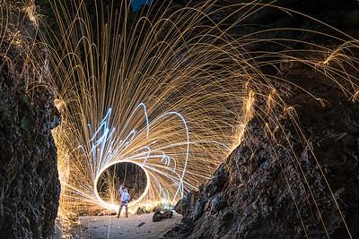 Spinning steel wool inside a Palos Verdes Cliff