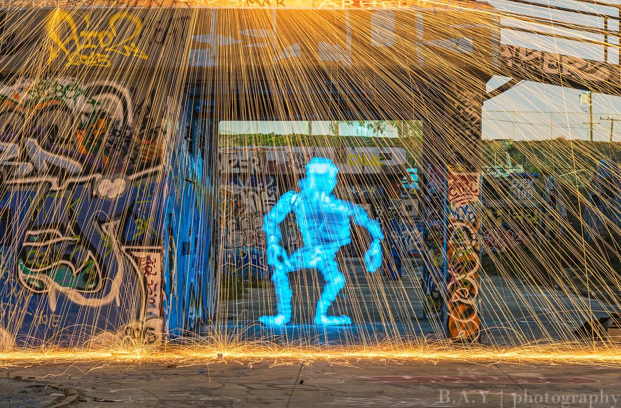 Troll Shower, Steel wool Light painting, San Pedro CA