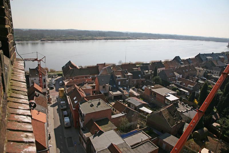 Steendorp vanop de kerktoren - Warandestraat en Schelde