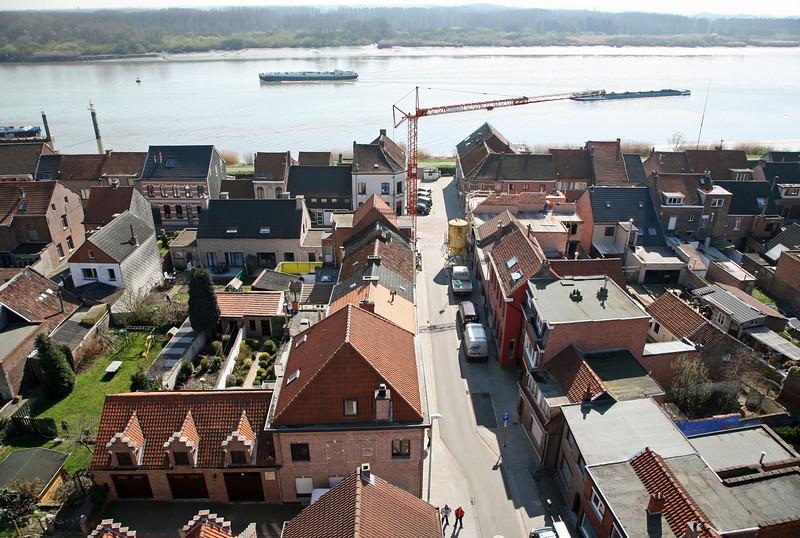 Steendorp vanop de kerktoren - Gelaagstraat, Warandestraat, Lepelstraat en Schelde