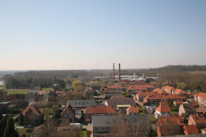 Steendorp vanop de kerktoren - Richting Temse, steenbakkerij