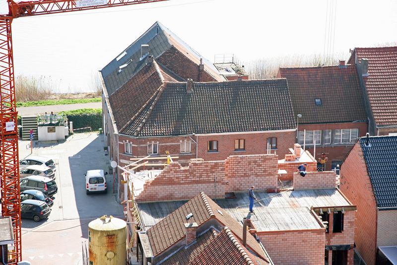 Steendorp vanop de kerktoren - hoek Gelaagstraat en Warandestraat