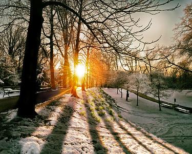 Sonnenaufgang im Stadtpark