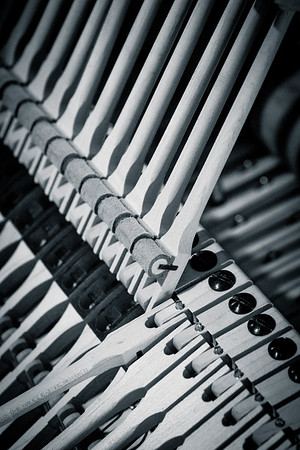 Steinway B, close up of the rollers on the hammers.
