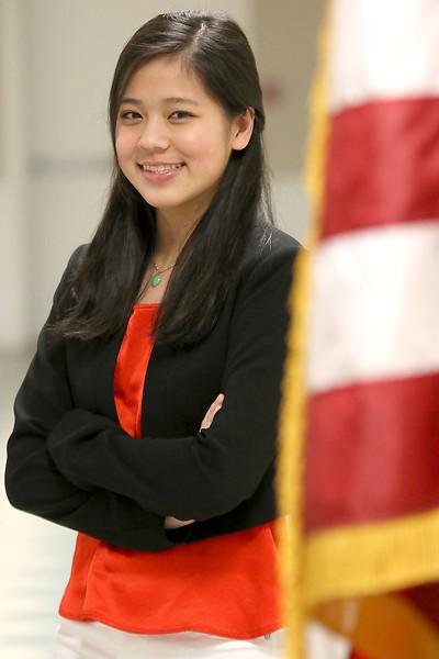 Stephanie Tam, 16, a Tewksbury Memorial High School junior is a finalist in the national VFW Voices of Democracy audio-essay program. SUN/JOHN LOVE