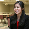 Stephanie Tam, 16, a Tewksbury Memorial High School junior talks about being a finalist in the national VFW Voices of Democracy audio-essay program. SUN/JOHN LOVE