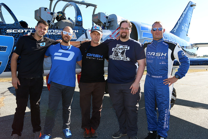 "Stephen Baldwin was at the Fitchburg Municipal Airport on Tuesday filming his new show ""Great American Pilgrimage."" Posing for a picture by the Czechoslovakian jet they had for episode is, from left, the Marketing Director Cody Kelso, Uiyc Technical lead Chuck Williams, Evolution Front e<br /> End Developer Joshua Seigler and pilot Scott Farnsworth. SENTINEL & ENTERPRISE / JOHN LOVE"