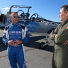 "Stephen Baldwin was at the Fitchburg Municipal Airport on Tuesday filming his new show ""Great American Pilgrimage."" They had a Czechoslovakian jet that was being flown by pilot Scott Farnsworth. Here he explains the jet to Max Keiser, who was helping host the show, as they wait to fly it for the episode. He said it goes 500 mph. SENTINEL & ENTERPRISE / JOHN LOVE"