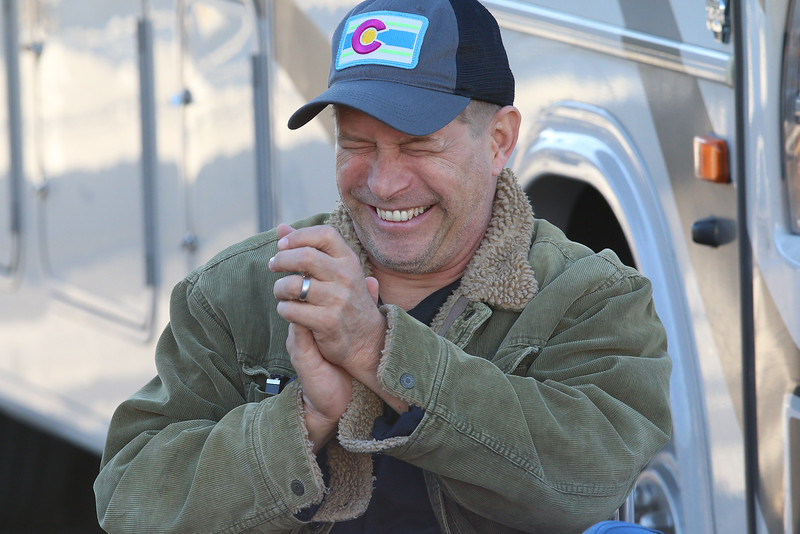 "Stephen Baldwin was at the Fitchburg Municipal Airport on Tuesday filming his new show ""Great American Pilgrimage."" He gets in a good laugh during filming of the show. SENTINEL & ENTERPRISE / JOHN LOVE"
