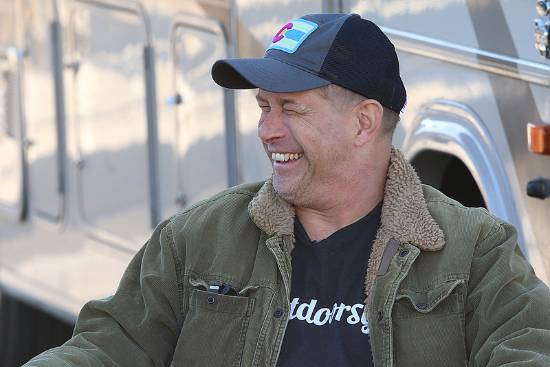 """Stephen Baldwin was at the Fitchburg Municipal Airport on Tuesday filming his new show """"Great American Pilgrimage."""" He gets in a good laugh during filming of the show. SENTINEL & ENTERPRISE / JOHN LOVE"""