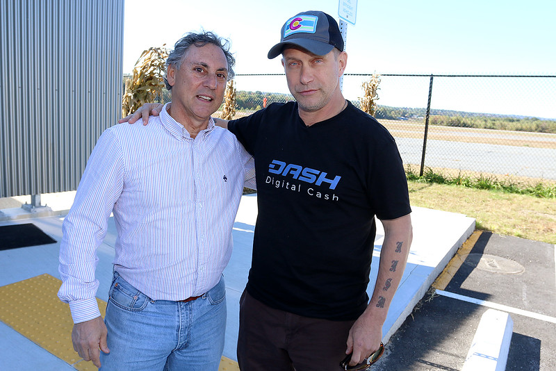 "Stephen Baldwin was at the Fitchburg Municipal Airport on Tuesday filming his new show ""Great American Pilgrimage."" Baldwin chatted with local pilot and author Charley Valera between takes for the show. SENTINEL & ENTERPRISE / JOHN LOVE"