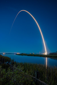 At at 9:16 p.m. , Friday, Oct. 2, 2020,  a 170 second exposure shows the Antares rocket carrying the Cygnus spacecraft lifting off from the Mid Atlantic Regional Spaceport's Pad-0A, at NASA's Wallops Flight Facility in Virginia.   On Monday, Oct. 5, Cygnus was successfully berthed to the space station.
