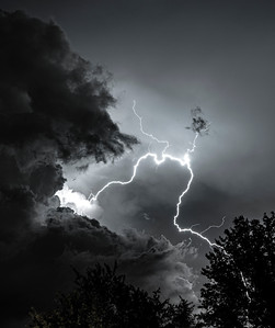 Lightning captured during a summer evening thundersorm in the skies over northern Virginia