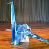 Turning Points Network volunteer Becky B. constructed  and water-colored this over-size Origami bird, which stands about 18 inches tall, from paper that originally was 8 feet square.<br /> Photo: Stephen C. Fitch   April 30, 2016   11:59 AM