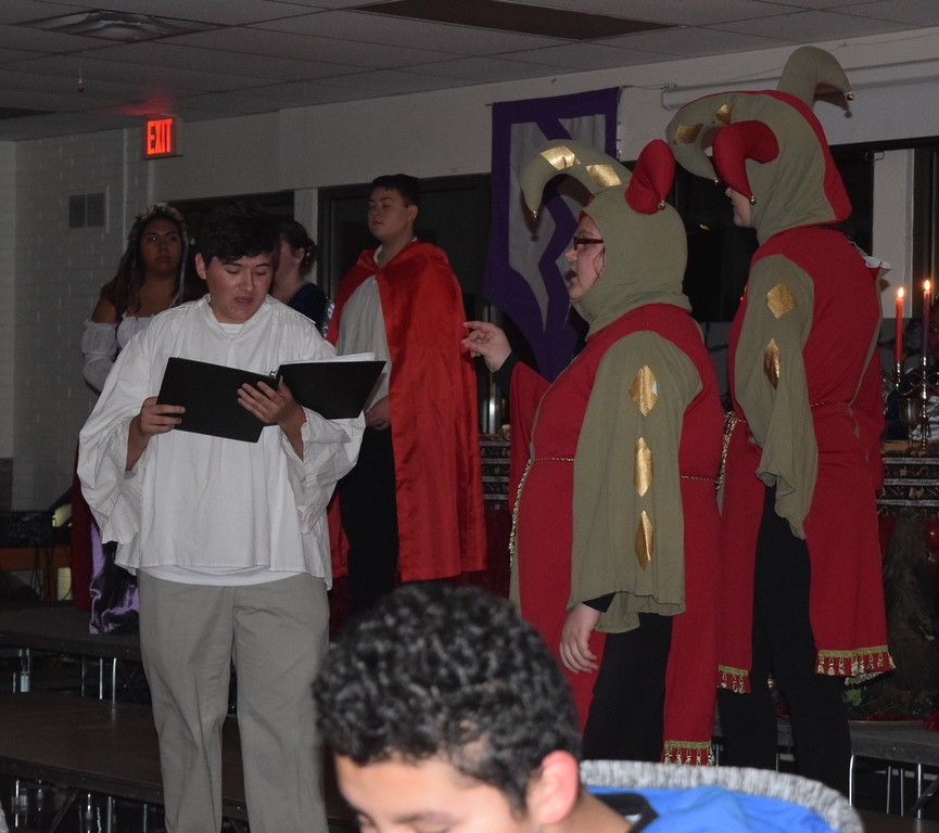 """. The Page (Gabe Walters) audtions for a part in Rapunzel during a theatrical performance of \""""Rapunzel, Rapunzel, Let Down Your Heir\"""" at Sterling High School\'s 30th annual Madrigal Dinner Monday, Dec. 4, 2017."""