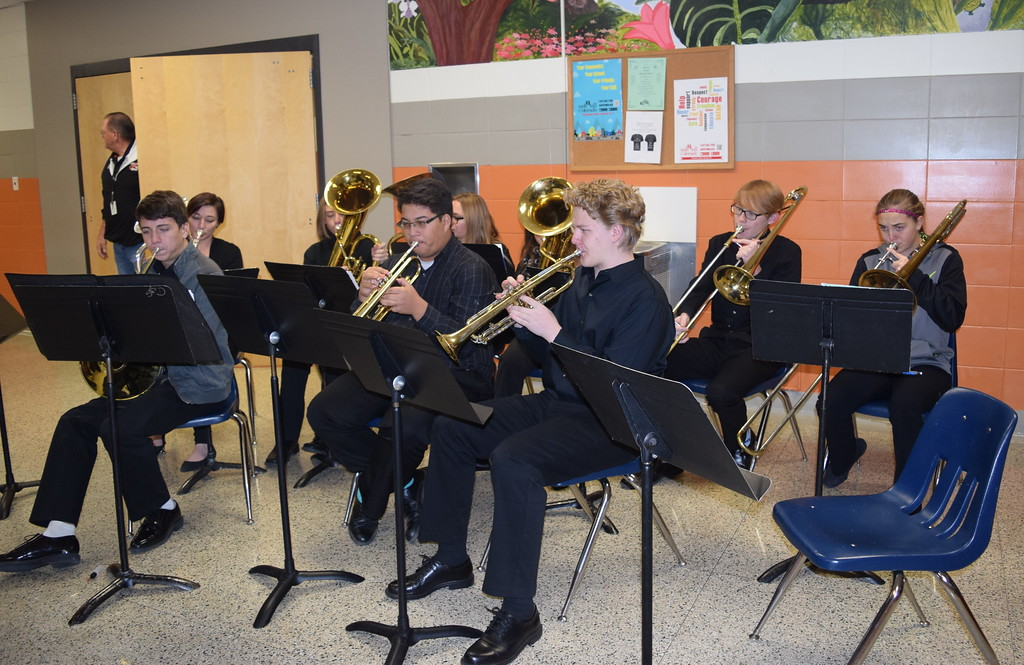 . The Sterling High School Brass Ensemble, under the direction of Risa Lamorie, enterains guests as they wait to be seated Monday, Dec. 4, 2017, at the school\'s annual Madrigal Dinner. The ensemble included Bowen Brandt, Dylan Cranwell, Jaren May, Akayla Mahaffey, Kaven Thompson, Kahlei Fleckenstein, Brenden Ransdell, Andrea Hahn and Alex Norell.