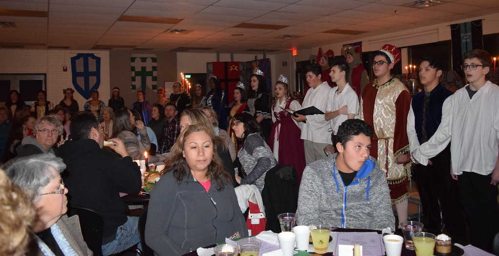 . The Royal Court and other choir members provide musical entertainment at Sterling High School\'s 30th annual Madrigal Dinner Monday, Dec. 4, 2017.