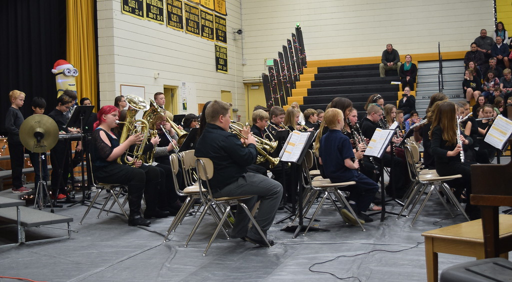 ". Caliche Elementary School\'s fifth and sixth grade band performs ""Up on The House Top,\"" under the direction of Ryan Rosete, Tuesday, Dec. 5, 2017, at the school\'s Christmas Celebration."