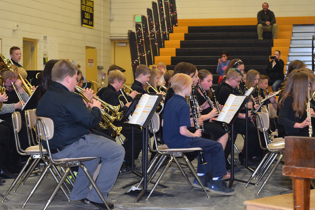 ". Caliche Elementary School\'s fifth and sixth grade band performs ""Jingle Bells,\"" under the direction of Ryan Rosete, Tuesday, Dec. 5, 2017, at the school\'s Christmas Celebration."