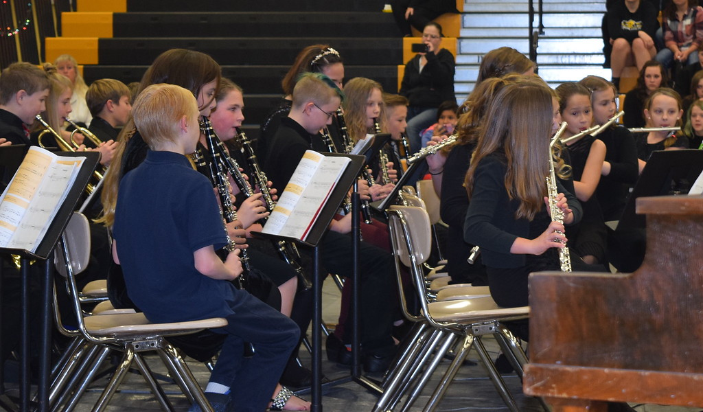 ". Caliche Elementary School\'s fifth and sixth grade band performs ""Up on The House Top,\"" under the direction of Ryan Rosete, Tuesday, Dec. 5, 2017, at the school\'s Christmas Celebration"