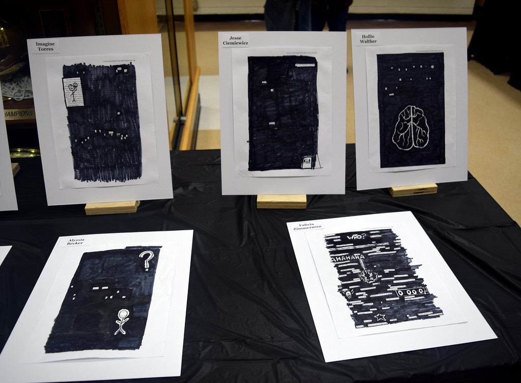 . A black-out poetry exhibit was part of Caliche School\'s Visual and Performing Arts Show Tuesday, Feb. 26, 2019.