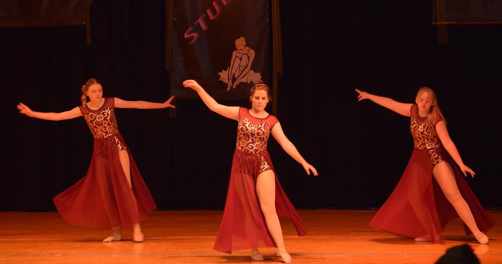 ". Erika Meakins, Courtney Bonn and Courtney Lundgren dance to \""Girl Crush\"" at Durante\'s Dance Studio\'s spring recital Saturday, June 10, 2017."