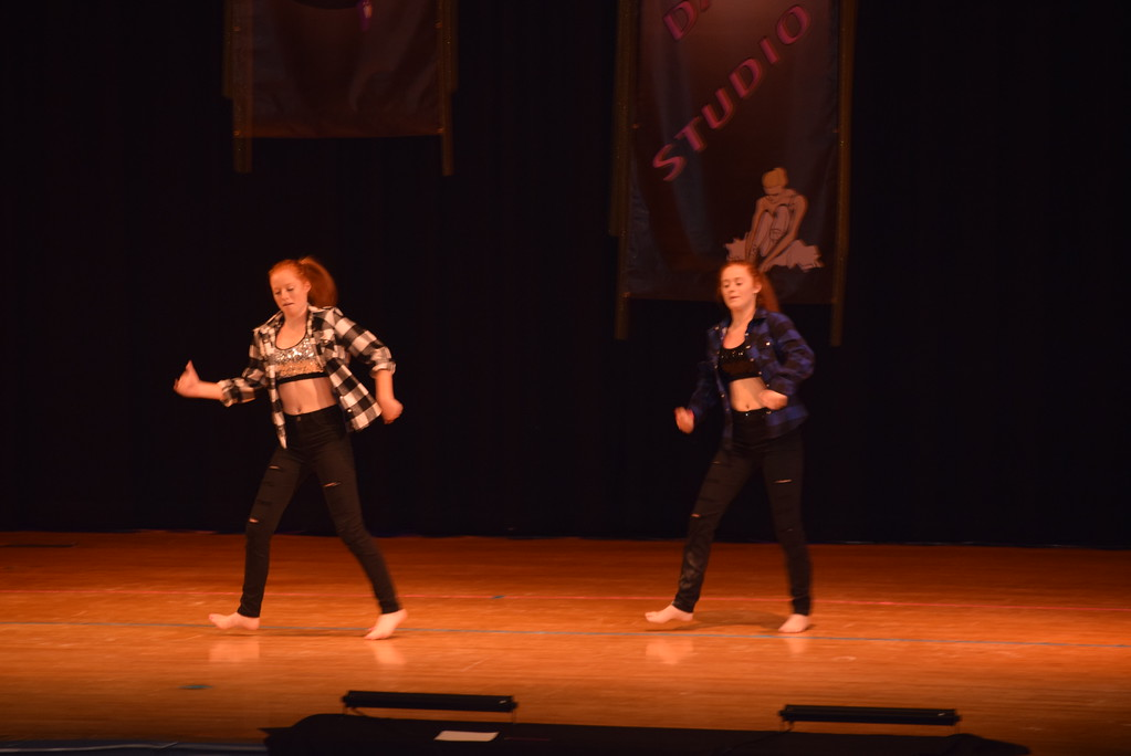 """. McKenzie and Bailey Dahl dance to \""""Back to School Rally Mix\"""" at Durante\'s Dance Studio\'s spring recital Saturday, June 10, 2017."""